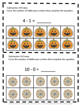 Free Sampler: Halloween 10 Frame Task Cards Counting, Addition, Subtraction