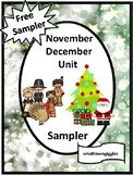 Free Sampler, November December Unit  Math and Literacy Fine Motor Activiites