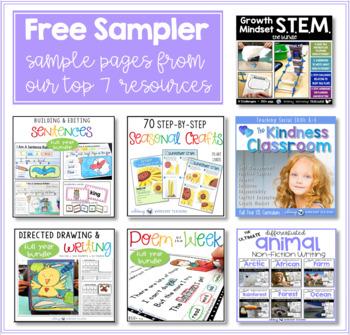 Free Sampler Pack - STEM, SEL, Writing, Directed Drawing, Literacy