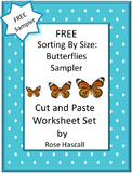 Free Sort by Size Butterflies Cut and Paste Worksheets Spring Summer Activities