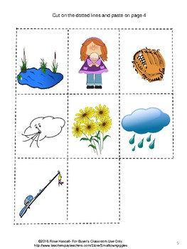 Free Sampler: Spring and Summer Cut Paste Mini Accordion Book P-K, K, Special Ed