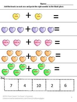 Free Sampler Valentine Math Activities Addition Subtraction Kindergarten Autism
