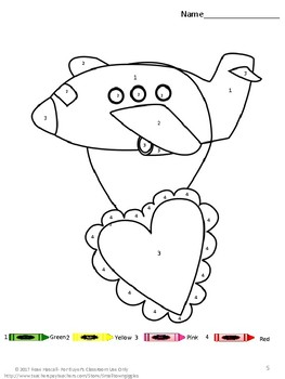 Free Sampler Valentine's Day Color By Number Early Childhood P-K, K, Special Ed.