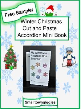Free Sampler: Winter Christmas Cut and Paste Mini Accordion Book Fine Motor