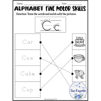 Free Samples Alphabet Fine Motor Skills Set 1
