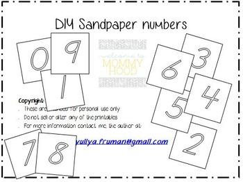 Free Sandpaper Number Cards