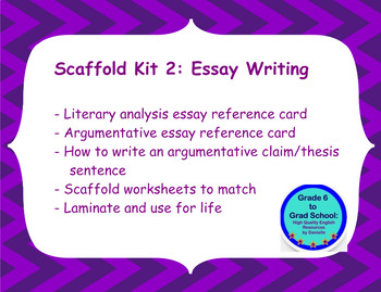 Scaffold Kit 2 Essay Reference Cards and matching scaffold worksheets