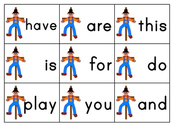 Free Scarecrow Sight Words