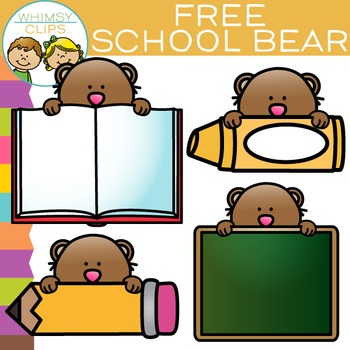 free school bear clip art by whimsy clips teachers pay teachers rh teacherspayteachers com February Clip Art for Teachers Money Clip Art for Teachers