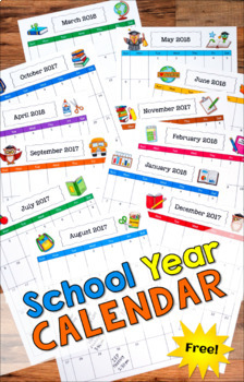 Free School Year Calendar (2018-2019)