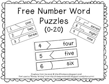 Free Self-Correcting Number Word Puzzles (0-20)