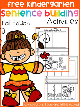 Free Kindergarten Sentence Building (Fall Edition)