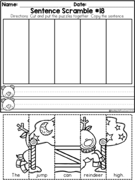 Free Kindergarten Sentence Building (Winter Edition) by ...