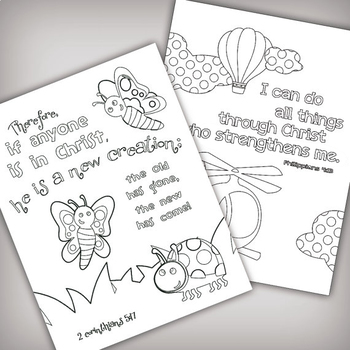 Set Of 5 Bible Memory Verse Coloring Pages For Kids