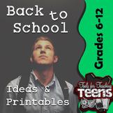 Free Set of Back to School Ideas & Printables (Grades 6-12)