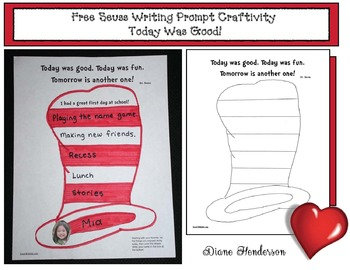 """Free Seuss Writing Prompt Craftivity: """"Today Was Good!"""""""