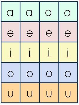 Free Short Vowel Memory Game