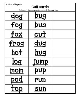 Free colored Short Vowel cvc / simple word Bingo-style Three In a Row Game