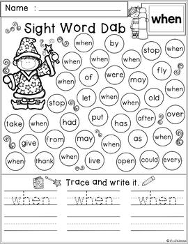 Free Sight Word Dab