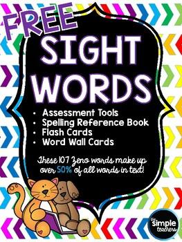 Free Sight Word Pack (107 Zeno Words List)
