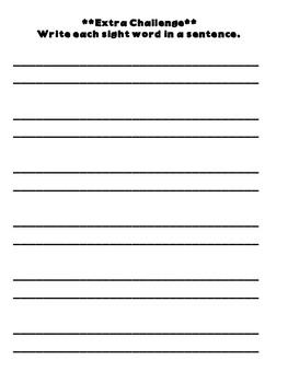 Free Sight Word Practice Worksheet