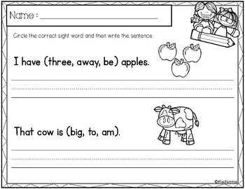 Free Sight Word Sentence Writing