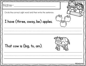 Free Sight Word Sentence Writing