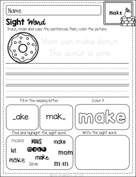 Free Sight Words Coloring and Handwriting Practice (Pre-Primer Edition)