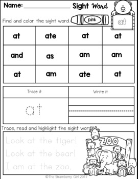 Free Sight Words Coloring and Handwriting Practice (Primer Edition)