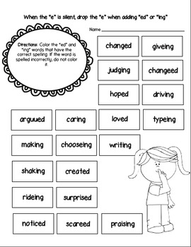 Free Silent E Activity (Drop the silent e, when adding ed or ing)