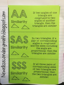 Free Similar Triangles Foldable with Card Sort