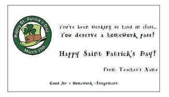 Simple Saint Patrick's Day Homework Pass