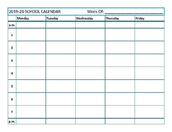 Free Simple Weekly Teacher Planning Calendar - 7 period day by Sea