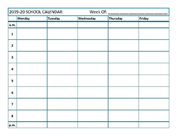 Free Simple Weekly Teacher Planning Calendar - 8 period day
