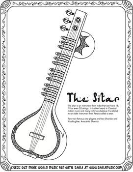 Free Sitar Coloring Page