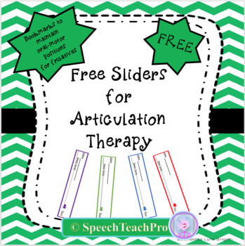 Free Sliders for Articulation Therapy- F,V,S,Z,SH, TH