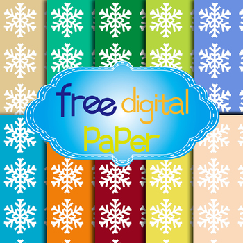 Free Snowflakes Digital Papers in 10 Colors