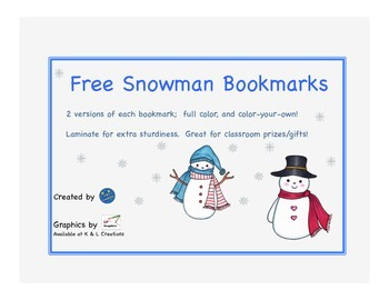 Free Snowman Bookmarks