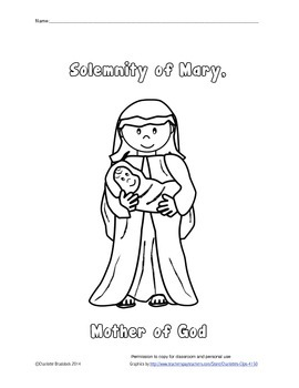 Free Solemnity of Mary Printable from Charlotte's Clips: Catholic Series