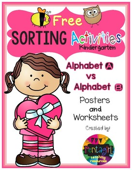Free Sorting Activities Posters and Worksheets Alphabet A and B