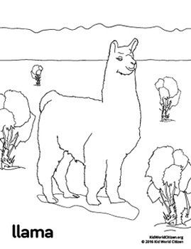free south america peru llama coloring page