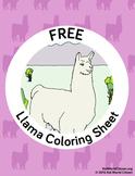 Free South America / Peru Llama Coloring Page