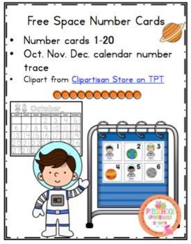 Free Space Number Cards 1-25