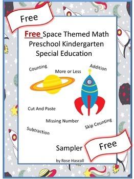 Free Space Themed Math  Preschool Kindergarten Special Education Sampler