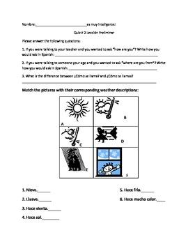 Free Spanish Avancemos book 1 Quiz 2 for Preliminary Lesson