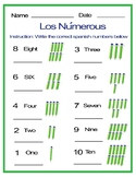 Free Spanish: Counting from One to Ten
