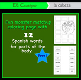 Free Spanish El Cuerpo interactive match-up coloring page