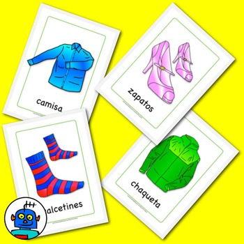 Free Spanish Flash Cards - Clothing - Ropa