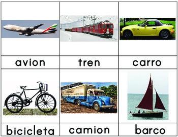 Free Spanish Language 3-Part Cards