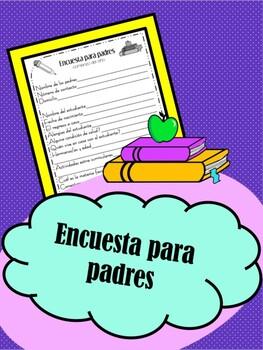 Free Spanish Parent Information Survey/ Encuesta gratis para padres